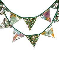 (INFINITE HOME) Camouflage Scout Fabric Flag Buntings Banner Garlands Children Birthday Party Dec...