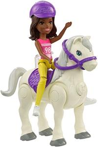 (Barbie) Barbie On The Go Horse & Doll Blue & Purple Outfit-FHV62