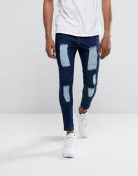 Illusive London Super Skinny Jeans In Dark Wash Blue With Distressing