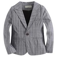 (Felds) Felds Fashion Woven Cotton 100% Toddler Boy Blazer Plaid Grey Kids Outerwear Boys Jacket-