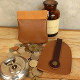 Set of Coin Bag & Key Case - Tan + Brown Strap (Genuine Cow Leather)