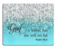 (Smooffly) Smooffly PSALM 46:5 God is Within Her She Will not Fall- Bible Verse Purple Sparkles G...