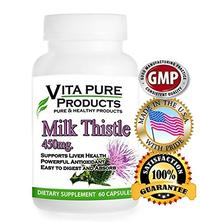 Milk Thistle Extract Pure - 450mg With 80% Silymarin for Liver Cleanse Liver Detox Liver Support and a Powerful Antioxidant - 60 Tablets - 100% Satisfaction Guarantee - Buy 3 Bottles or More Get FRE
