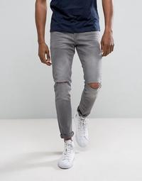 River Island Skinny Jeans With Knee Rips In Dark Gray Wash