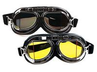 (Careonline) Careonline Retro Style Motorcycle Goggles Motorbike Flying Scooter Aviator Helmet Gl...