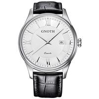 (GNOTH) GNOTH Men s Classic Casual Analog Quartz Wrist Watch with Durable Black Genuine Leather B...