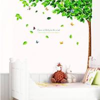Yesurprise New PVC 3D Creative Green Tall Tree with Falling Leaf Kids living room TV backdrop Wall Stickers for baby kid s room decal Paper House Sofa Room Nursery - The Perfect Birthday Christmas Gi
