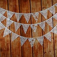 (INFINITE HOME) Mixed White Lace Fabric Flag Buntings Garlands Wedding Birthday Party Decoration-