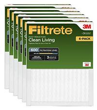 Filtrete 16x25x1 AC Furnace Air Filter MPR 600 Clean Living Dust Reduction 6-Pack