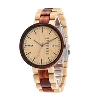 (Redear) Redear Unisex Classic Natural Eco Wood Watch with Date Display Casual Wooden Wrist Watch...