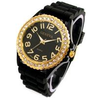 (Geneva) Geneva Black Silicone Ceramic Style Wrist Watch Surrounded with Gold Trim and Sparkly Rh...