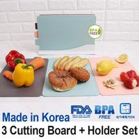 Antibacterial Index Cutting Board★BPA Free★Baby food Cooking Chopping/3+1Holder★Korea