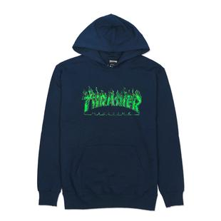 【HopesTaiwan】THRASHER GHOST FLAME HOODED 鬼火帽T-NAVY/GREEN